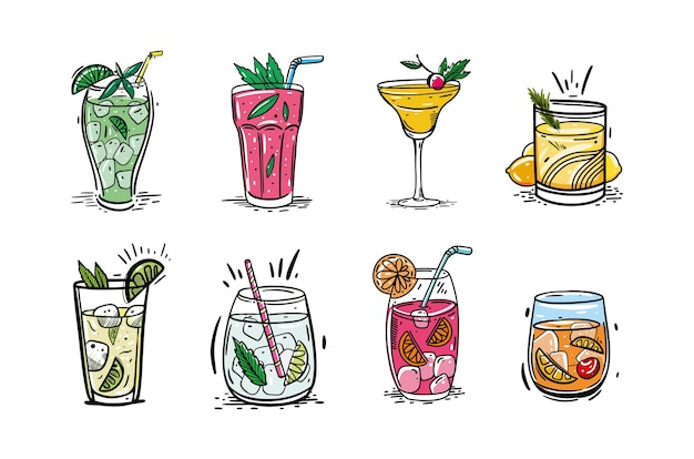 Ensemble de cocktails. style de croquis dessiné à la main. isolé sur fond blanc. cocktails populaires pour menu design, affiches, brochures pour café, bar.