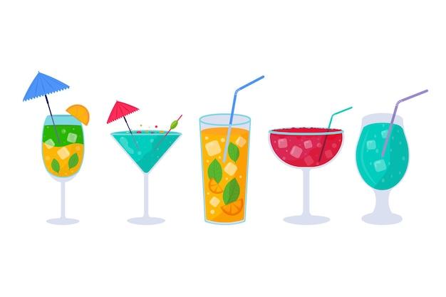 Ensemble de cocktails tropicaux. boissons d'été alcoolisées dans des verres sur la plage, mojito, vodka, sambuca, martini, jus de fruits, bloody mary. concept de vacances pour invitation à une fête, menu du bar. illustration vectorielle