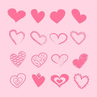 Ensemble de coeur design dessiné à la main