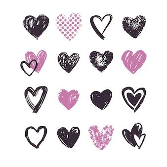 Ensemble de coeur dessiné à la main