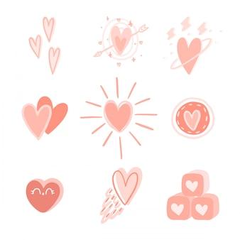 Ensemble de coeur dessiné à la main.