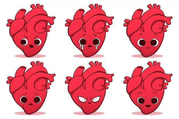 Ensemble de coeur humain mignon dessiné à la main