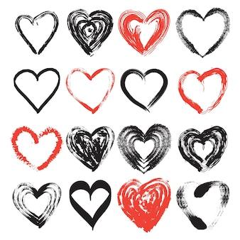 Ensemble de coeur de style dessiné à la main