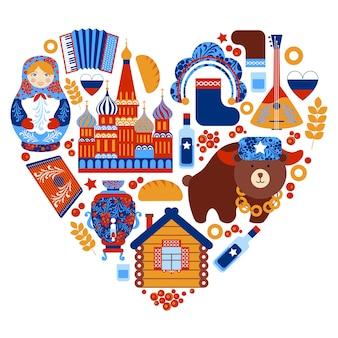 Ensemble de coeur de voyage russie