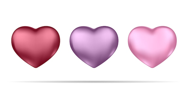 Ensemble de coeurs 3d réalistes rouges et roses isolés sur blanc