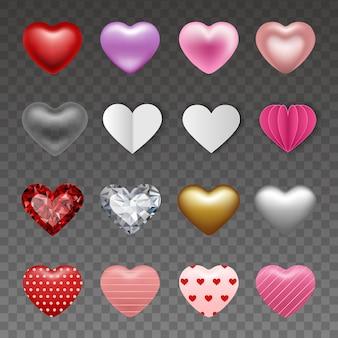 Ensemble de coeurs dans différents styles pour les décorations de la saint-valentin