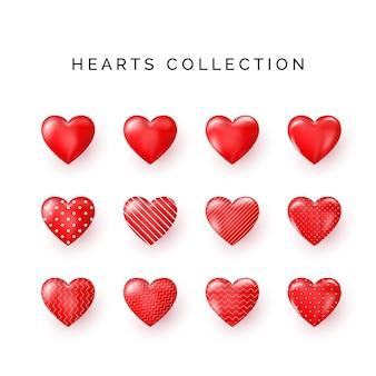 Ensemble de coeurs décoratifs rouges avec ombre