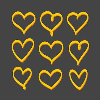 Ensemble de coeurs dessinés à la main jaune isolé sur fond noir. éléments décoratifs vectoriels, objets clipart.
