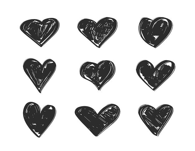Ensemble de coeurs dessinés à la main noire.