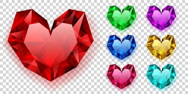 Ensemble de coeurs de différentes couleurs en cristaux