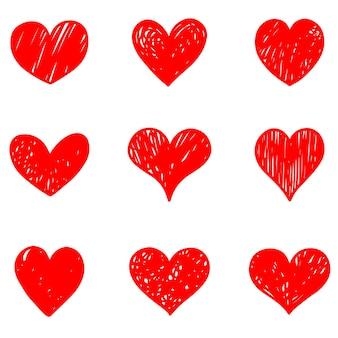Ensemble de coeurs de griffonnage isolé sur fond blanc. dessinés à la main de l'amour de l'icône. illustration vectorielle.