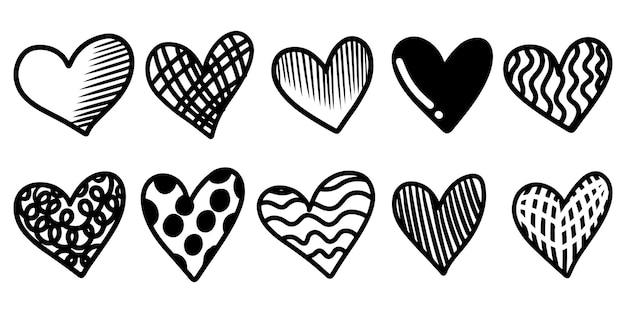 Ensemble de coeurs de griffonnage isolé sur fond blanc. dessinés à la main de l'icône love.vector illustration.