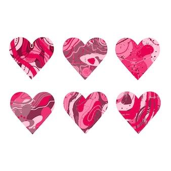 Ensemble de coeurs roses abstraits