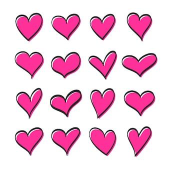 Ensemble de coeurs roses avec contour noir dans un style doodle.
