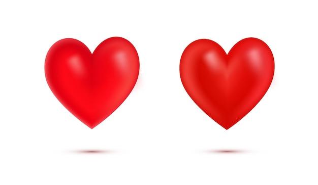 Ensemble de coeurs rouges réalistes de la saint-valentin avec coeur shadow.3d isolé sur fond blanc.simbol de love.element pour carte de voeux le jour de la saint-valentin, fête des mères, mariage, je t'aime. illustration vectorielle.