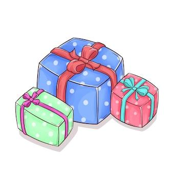 Ensemble de coffret cadeau dessiné à la main mignon