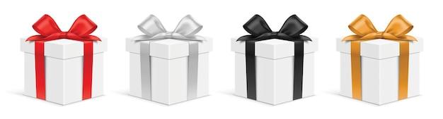 Ensemble de coffrets cadeaux blancs réalistes avec des rubans de couleurs différentes