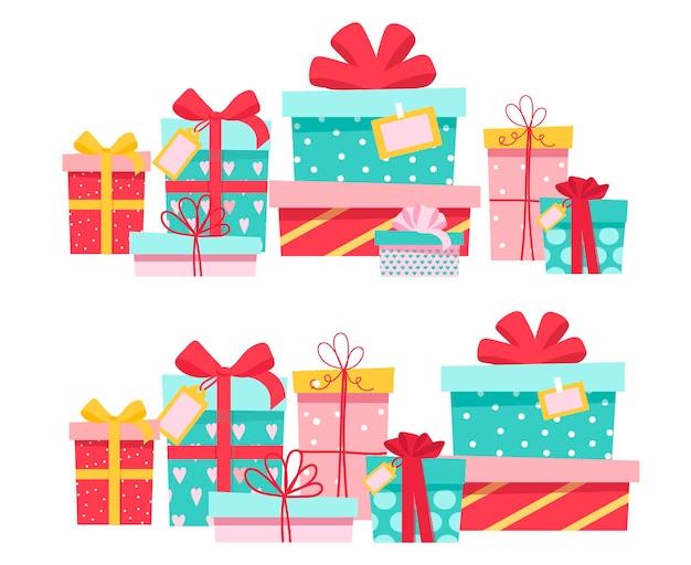 Ensemble de coffrets cadeaux cadeaux dans une boîte et emballés avec un ruban.