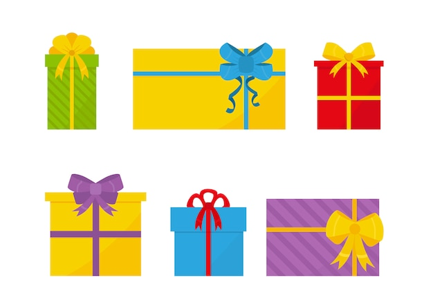 Ensemble de coffrets cadeaux plat coloré avec des arcs.