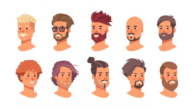 Ensemble de coiffures hommes tête avatars beaux visages humains messieurs collection de coupes de cheveux