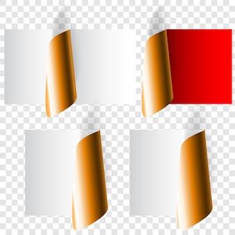 Ensemble de coins de papier bouclés réalistes dans des couleurs blanches, rouges et dorées avec des ombres
