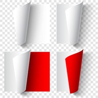 Ensemble de coins de papier recourbés réalistes dans des couleurs blanches et rouges avec des ombres