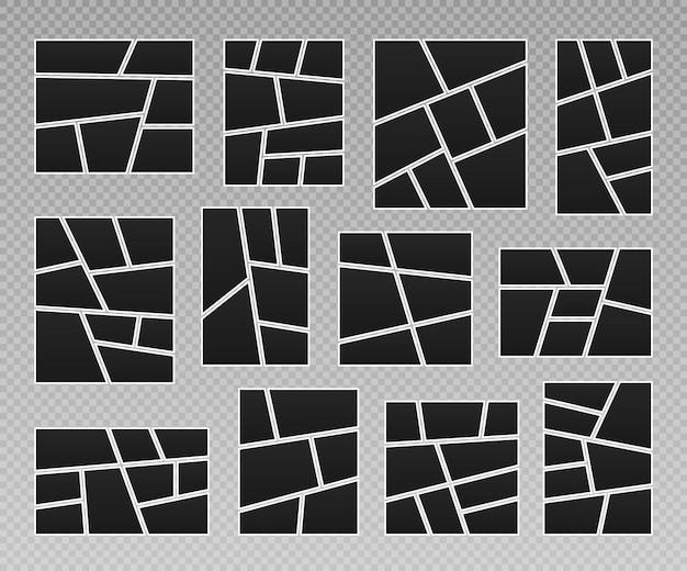Ensemble de collage de cadres de photos mise en page de grille de bandes dessinées, cadres photo abstraits et photo numérique