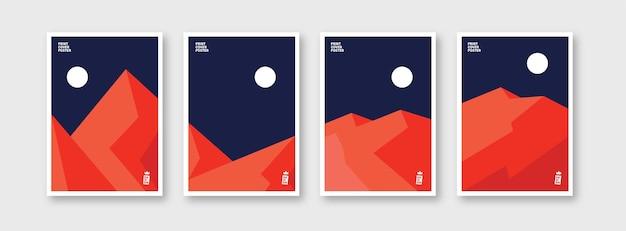 Ensemble de collage montagne tendance paysage minimaliste vecteur abstrait
