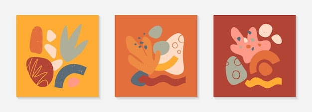 Ensemble de collages vectoriels modernes avec des formes organiques dessinées à la main, des textures et des éléments graphiques. design contemporain tendance parfait pour les impressions, les médias sociaux, les bannières, les invitations, la conception de marque, les couvertures