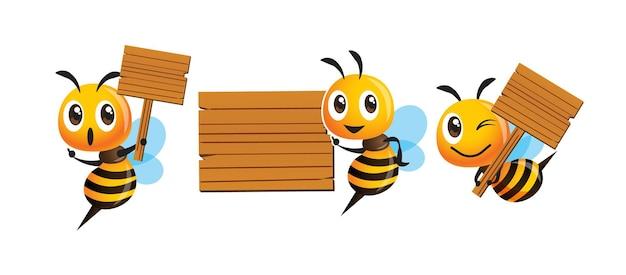 Ensemble de collection d'abeille mignonne de bande dessinée tenant le panneau en bois