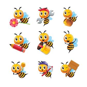 Ensemble de collection d'abeilles mignonnes de dessin animé dans différentes poses