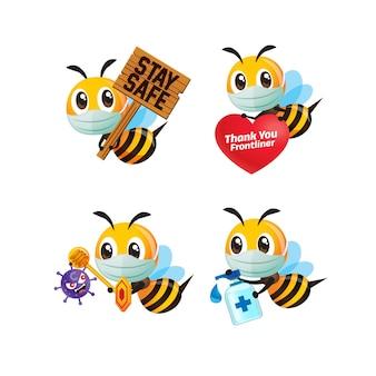Ensemble de collection d'abeilles mignonnes de dessin animé portant un masque facial et combattant la pose de coronavirus