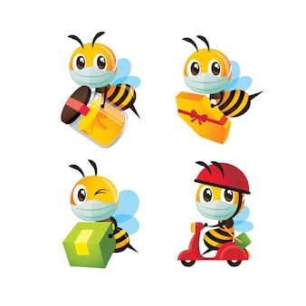 Ensemble de collection d'abeilles mignonnes de dessin animé portant un masque facial pour la livraison d'une bouteille de miel et d'un colis