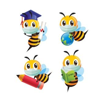 Ensemble de collection d'abeilles mignonnes de dessin animé portant un masque protecteur prêt à retourner à l'école