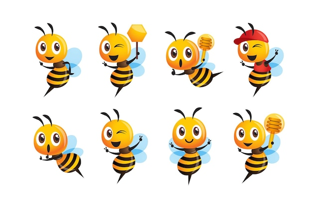 Ensemble de collection d'abeilles mignonnes de dessin animé avec une pose et une expression différentes