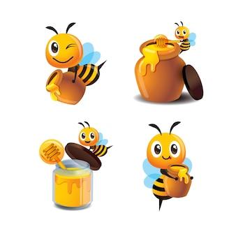 Ensemble de collection d'abeilles mignonnes de dessin animé avec pot de miel et bouteille