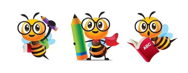 Ensemble de collection d'abeilles mignonnes de dessin animé de retour à l'école