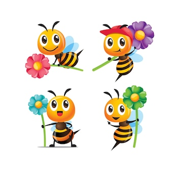 Ensemble de collection d'abeilles mignonnes de dessin animé tenant des poses de fleurs
