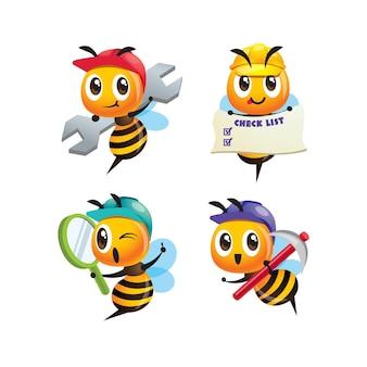 Ensemble de collection d'abeilles ouvrières mignonnes de dessin animé tenant un matériel différent