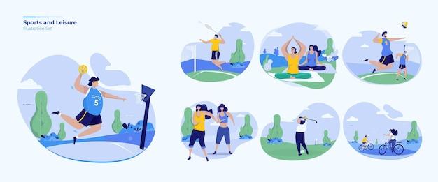 Ensemble de collection d'activités de sport et de loisirs