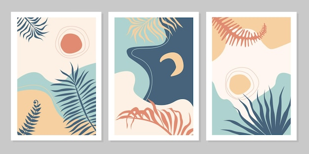 Ensemble de collection d'affiches abstraites de paysages colorés avec soleil, lune, étoile, mer, montagnes, rivière, plante. plate illustration vectorielle. modèles d'impression d'art contemporain, arrière-plans pour les médias sociaux.