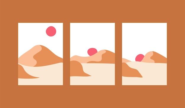 Ensemble de collection d'affiches d'art minimal abstrait vertical de montagne de plage de paysage