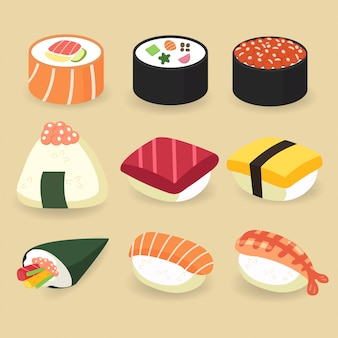 Ensemble de collection d'aliments traditionnels japonais: sushi, sashimi, temaki et petit pain