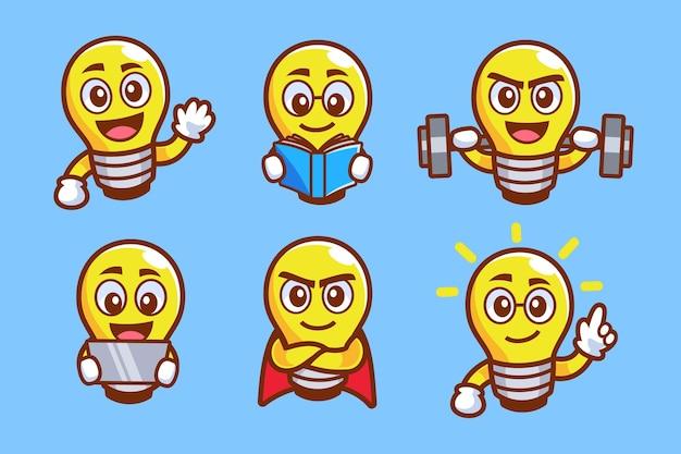 Ensemble de collection d'ampoule de personnage de dessin animé