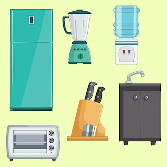 Ensemble de collection d'appareils de cuisine