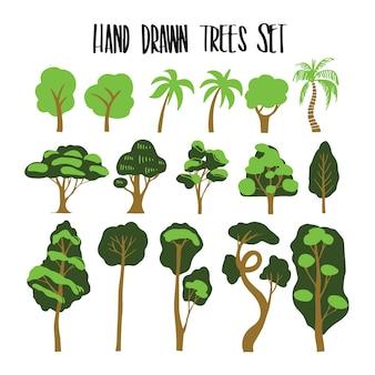 Ensemble de collection d'arbres dessinés à la main, vecteur d'illustration pour des utilisations infographiques ou autres.