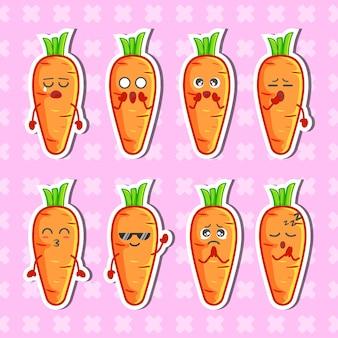 Ensemble de collection d'autocollants de personnage de carottes mignonnes vecteur premium