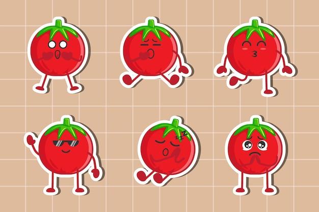 Ensemble de collection d'autocollants de personnage de tomate mignon vecteur premium