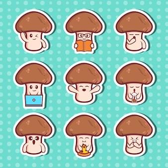Ensemble de collection d'autocollants de personnages de champignons mignons vecteur premium