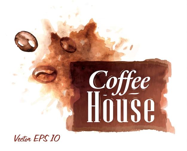 Ensemble de collection de badges aquarelle café maison